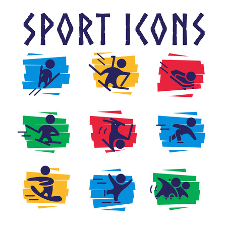 Vector collection of flat sport icons isolated on colorful geometric backgrounds. Winter sports illustration. Human figures. Active lifestyle, season activities. Competition sign and symbol.