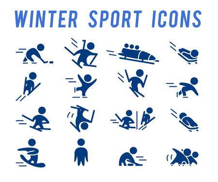 Collection de vecteurs de silhouettes simples simples d'athlète isolées sur fond blanc. Icônes de sports d'hiver. Symboles de compétition. Bon pour la publicité et la conception d'affiches. Banque d'images - 83239209