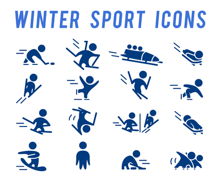 Vector collection of flat simple athlete silhouettes isolated on white background. Winter sport icons. Competition symbols. Good for advertising and poster design. Иллюстрация