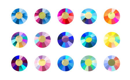 Vector collection of shine colorful gemstones isolated on white background. Glass crystal set. Good for game design, abstract rhinestone patterns, wallpapers.