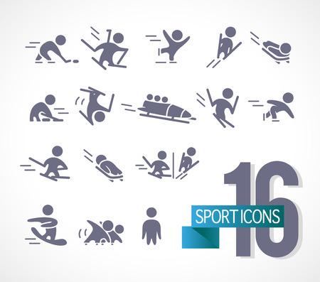 Vectorinzameling van vlakke eenvoudige die atletenilhouetten op witte achtergrond worden geïsoleerd. Wintersport pictogrammen. Competitiesymbolen. Goed voor reclame en posterontwerp. Stock Illustratie