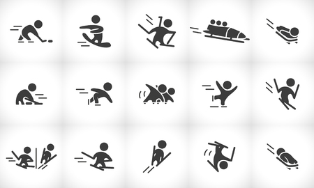 Collection de vecteurs de silhouettes simples simples d'athlète isolées sur fond blanc. Icônes de sports d'hiver. Symboles de compétition. Bon pour la publicité et la conception d'affiches. Banque d'images - 83239611