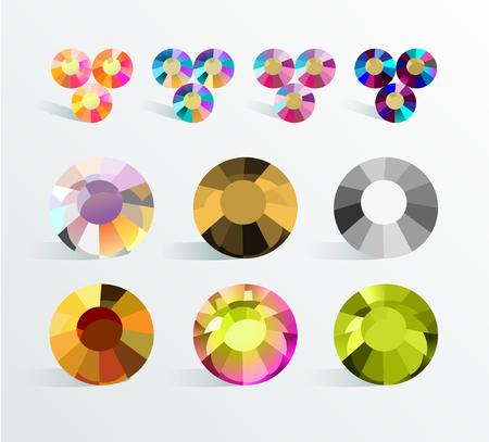 Vector verzameling van glans kleurrijke edelstenen geïsoleerd op een witte achtergrond. Glazen kristallen set. Goed voor gameontwerp, abstracte strasspatronen, achtergronden.