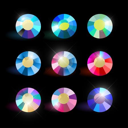 Colección de vectores de brillantes piedras preciosas de colores aislados sobre fondo negro. Juego de cristal de cristal Bueno para el diseño del juego, patrones abstractos de diamantes de imitación, fondos de pantalla. Foto de archivo - 83239621