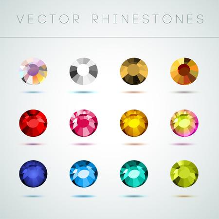 Vector colección de brillantes piedras preciosas de colores aislados sobre fondo blanco. Juego de cristal de cristal. Bueno para el diseño del juego, patrones de diamantes de imitación abstractos, fondos de pantalla. Foto de archivo - 83239609