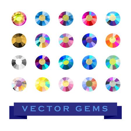 손질 다채로운 보석 흰색 배경에 고립의 벡터 컬렉션입니다. 유리 크리스탈 설정합니다. 게임 디자인, 추상 라인 석 패턴, 월페이퍼에 적합합니다.