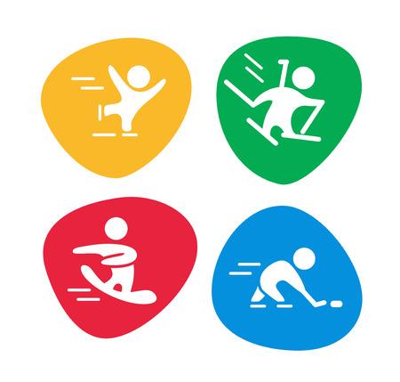 Vectorinzameling van vlakke die sportpictogrammen op kleurrijke achtergronden wordt geïsoleerd. Wintersport illustratie. Menselijke figuren. Actieve levensstijl, seizoensactiviteiten. Wedstrijdteken en symbool. Stock Illustratie
