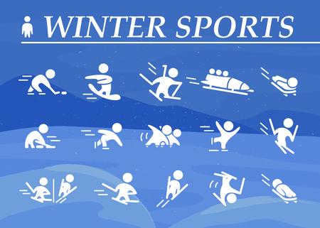 Collection d'icônes plat de sport d'hiver isolé sur la montagne d'hiver de couleur bleue et paysage de neige. Couleur blanche. Banque d'images - 83239604