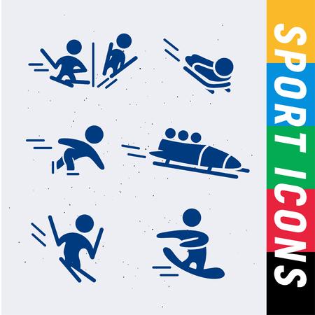 Collection de vecteurs de silhouettes simples simples d'athlète isolées sur fond blanc. Icônes de sports d'hiver. Symboles de compétition. Bon pour la publicité et la conception d'affiches. Banque d'images - 83239607