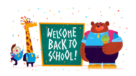Vector flat illustration with funny cartoon animal student hedgehog, giraffe, bear boy standing at big chalkboard isolated on white background. Lettering back to school greeting. Happy animal portrait
