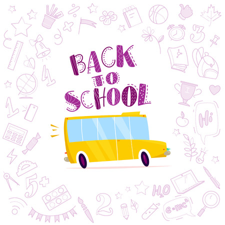 Vector flat cartoon illustration with hand drawn  doodle education elements and yellow school bus driving isolated on white background. Lettering, back to school collection, line art.