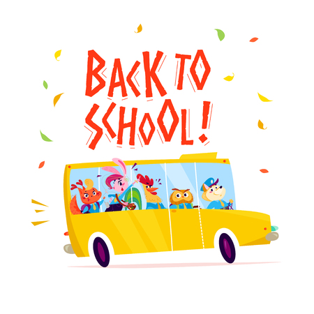 Vector flat funny cartoon illustration with happy animal student - squirrel, bunny girl, rooster, owl, dog - and yellow school bus driving isolated on white background. Lettering, back to school.