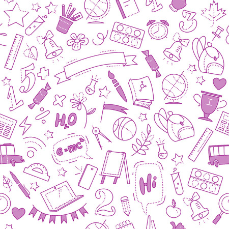 Vector seamless pattern with doodle school supplies isolated on white background. Line art. Linear back to school elements design. Good for banner, packaging paper. Outline isolated education objects.