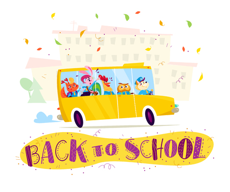 Vector flat funny cartoon illustration with happy animal student - squirrel, bunny girl, rooster, owl, dog  - and yellow school bus driving at school building isolated on white background.