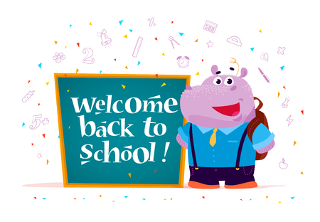 Vector flat illustration with cute cartoon hippo student standing at chalkboard isolated on white background. Lettering back to school greeting. Doodle education elements. Banner, packaging design. Illustration