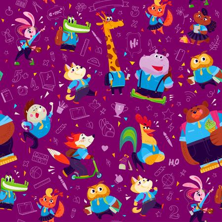 ベクトル落書き学校オブジェクト アイコンと紫色の背景に分離した面白い漫画動物学生シームレス パターン。ライン アート。包装紙のデザイン、  イラスト・ベクター素材