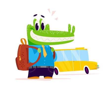 Vector flat cute little crocodile student character standing isolated on white background. School boy with bag at yellow school bus. Good for card, poster, packaging design.