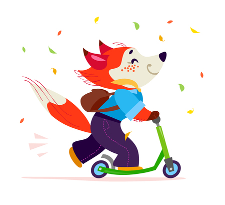 Vector flat cute happy fox student character riding scooter isolated on white background. School boy with bag smiling. Good for card, poster, packaging design. Illustration