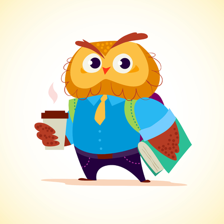 Vector flat cute little coffee owl student character standing isolated on white background. School boy  with bag and book. Good for card, poster, packaging design.