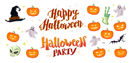 A Vector collection of flat cartoon Halloween design samples isolated on white background. Decoration elements good for invitation, flyer, party poster, banner, card template with pumpkin, hat, skull,and ghost Illustration