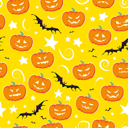A Vector cartoon seamless Halloween pattern design with magic elements isolated - spooky pumpkin, stars, flying bats on yellow background. Good for packaging design, advertisement backdrop. Illustration