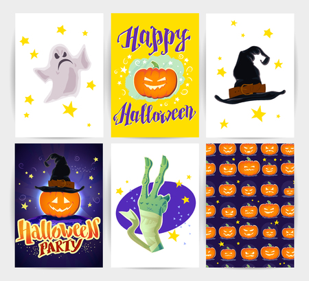 october 31: A Vector collection of cartoon Halloween spooky cards and party invitations and flyers with lettering, patterns, decoration elements. Poster, placard designs.