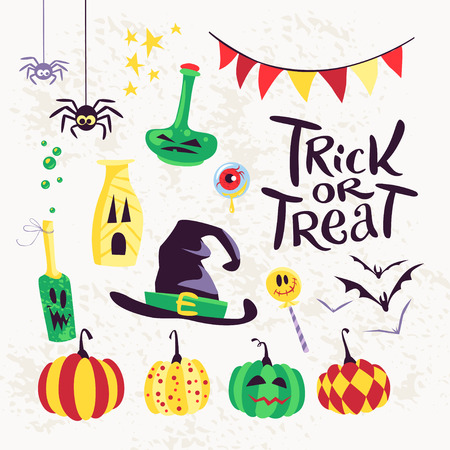 Collection of flat vector halloween traditional decoration elements isolated on white background. Bottles with faces, colored pumpkins, spiders, bat. Party invitation, flyer, poster, packaging design.