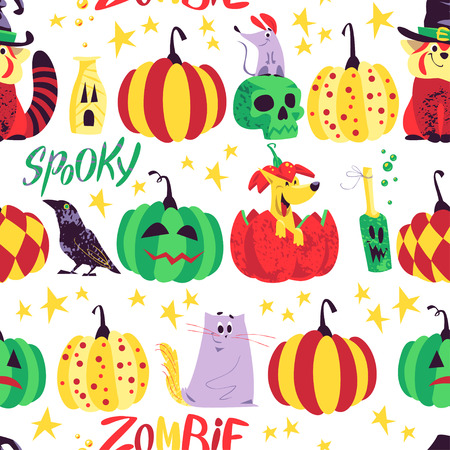 Vector seamless Halloween pattern with magic traditional elements isolated on white background - witch hat, pumpkin, stars, lettering etc. Good for advertising, media, cards design, packaging paper.