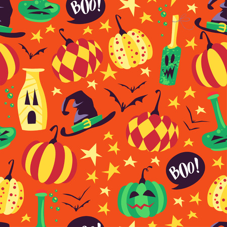 spider web: Vector seamless Halloween pattern with magic traditional elements isolated on orange background - witch hat, pumpkin, bat, stars, etc. Good for advertising, media, cards design, packaging paper. Illustration