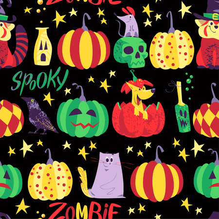 Vector seamless Halloween pattern with magic traditional elements isolated on black background - panda bear in witch hat, pumpkin, stars, lettering. Advertising, media, cards design, packaging paper. Illustration