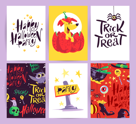 flayers: Vector collection of cartoon Halloween celebration cards and flayers with lettering and cute funny animals. Halloween traditional decoration elements, patterns. Poster, banner design.