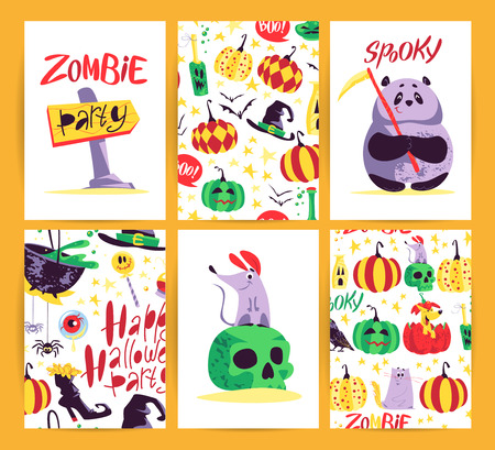 Vector collection of cartoon Halloween celebration cards and flayers with lettering and cute funny animals. Halloween traditional decoration element, pattern on white background. Poster, banner design