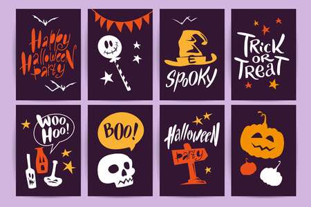 Vector collection of cartoon Halloween celebration cards and flayers with lettering and cute funny animals. Halloween traditional decoration elements on dark background. Poster, banner design. Illustration