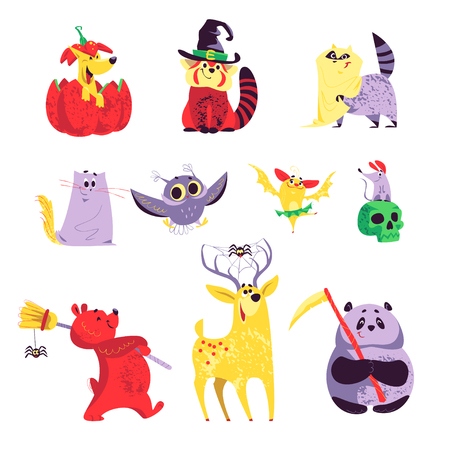Collection of flat vector halloween funny animals isolated on white background. Funny spooky characters in costumes. Good for party invitation, flyer, poster, packaging designs. Illustration