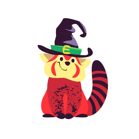 Vector flat cartoon illustration of Halloween small cute red panda character sitting in witch hat isolated on white background. Good for celebration card, party invitation, sticker, flayer design.