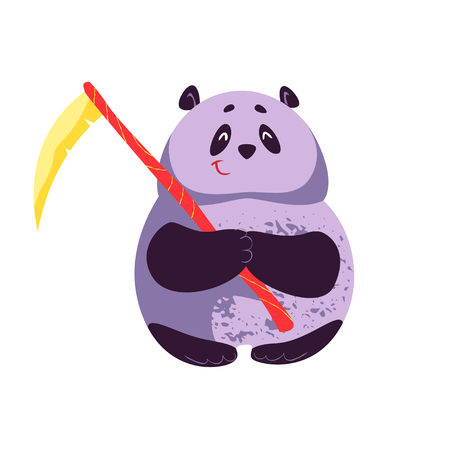 Vector flat cartoon illustration of Halloween cute fat panda character smiling standing with scythe isolated on white background. Good for celebration card, party invitation, sticker, flayer design.