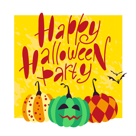 spider web: Vector flat cartoon illustration with Halloween decoration elements on white background - group of pumpkins, lettering, flying bats. Celebration party flyer, invitation, congratulation card design.