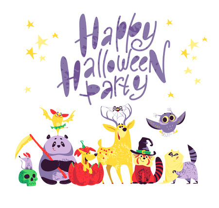 Vector flat cartoon illustration with Halloween character isolated on white background. Funny and cheerful animal portrait. Good for celebration card, party invitation, sticker, flayer design.