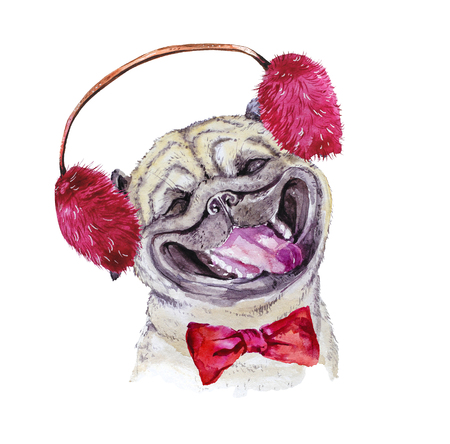 Watercolor artistic pug dog with bow and winter furry headphones portrait isolated on white background. Cute pet animal head hand drawn. Pug puppy. New Year symbol, christmas card, xmas emblem. Zdjęcie Seryjne
