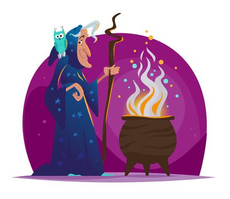 Vector Illustration Halloween avec la vieille sorcière en manteau bleu foncé et hibou assis sur son épaule debout au grand chaudron magique avec poison isolé. Flayer Party, bannière, élément de conception d'invitation. Banque d'images - 87712311