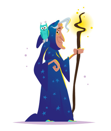 Vector Halloween illustration with old witch in dark blue cloak and owl sitting on her shoulder standing at big magic cauldron with poison isolated. Party flayer, banner, invitation design element. Illustration