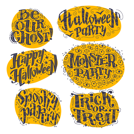 flayer: Vector flat halloween lettering quote on yellow spots design set with doodle elements isolated on white background. Good for party flayer, leaflet, poster, invitation, placard or banner.