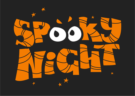 october 31: Vector flat halloween lettering quote design with spooky eyes isolated on black background. Good for party flayer, leaflet, poster, invitation, placard or banner. Illustration