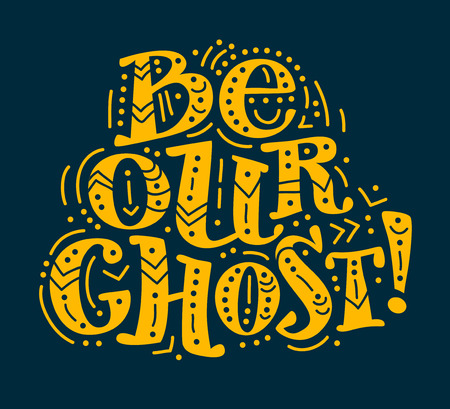 october 31: Vector flat halloween lettering quote design with doodle elements isolated on dark background. Good for party flayer, leaflet, poster, invitation, placard or banner.