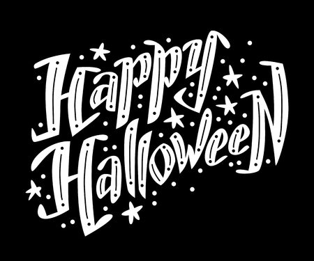 october 31: Vector flat halloween lettering quote design with doodle elements isolated on black background. Good for party flayer, leaflet, poster, invitation, placard or banner. Illustration