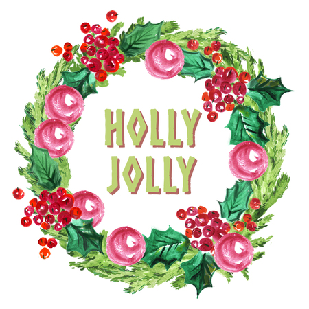 Watercolor artistic hand drawn christmas fir tree wreath decorated with balls & holly berry element & congratulation isolated on white background. Happy New year & Merry Xmas party flayer, card design Stock Photo