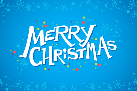 Vector merry christmas congratulation design with text message and colorful backdrop. Decoration snowflake pattern. Good for holiday and party cards, flayers, leaflets, posters, placards and banners.