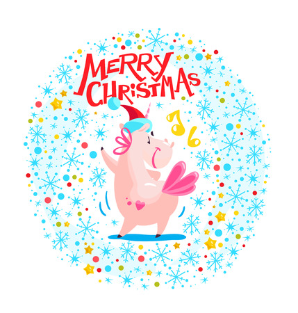 Vector illustration of funny unicorn in santa hat dancing on white winter background with snowflakes, confetti and merry christmas greeting. Good for xmas card, new year media design, packaging paper. Illustration