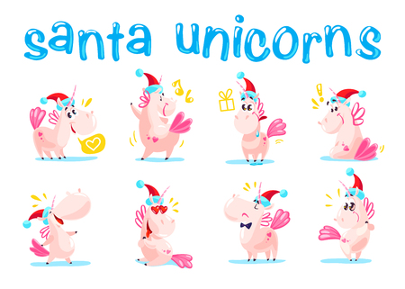 Collection of funny santa unicorn emoticon in santa hat isolated on white winter background. Set of cute white fairy little pony with pink tail. Good for merry christmas card and new year media design.