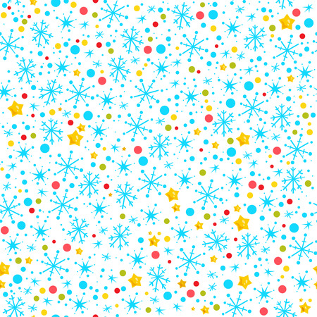 Vector seamless merry christmas and happy new year celebration seamless pattern with confetti and snowflakes isolated. Good for celebration flayers, congratulation cards and packaging paper.
